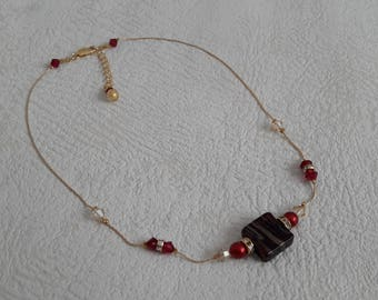 dainty gold necklace glass murano red and gold on gold scroll GIMP - minimalist jewelry - gold jewelry - gold