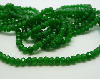25 jade beads dyed green rondelle faceted 2 * 4mm (USPJ01)