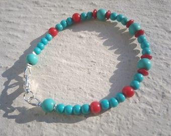 Bracelet: Coral and turquoise - very light.
