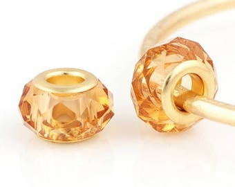 2 beads big hole, Golden caramel Crystal and metal color gold, 12 * 8mm approx.