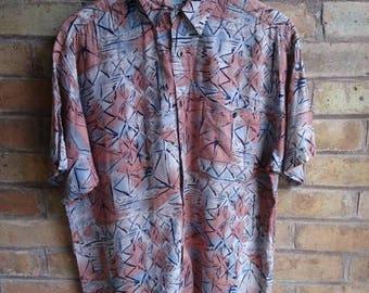 Vintage print blue & salmon short sleeve shirt