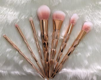 Rose Gold Unicorn Brush Makeup Brushes Set 7pcs Rhinestone Tools Powder Foundation Eye Lip Concealer Face colorful Brush Kit