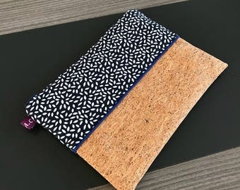 Flat clutch / pouch / cotton and Cork