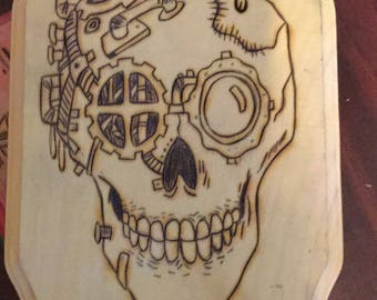 Glow in the Dark Steampunk Skull Woodburning Piece
