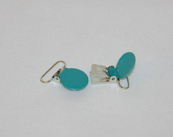 1 clip attachment-pacifier/Soother/blanket/strap turquoise metal clip