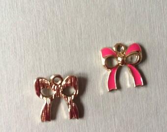 BOW: Gold enamel pink