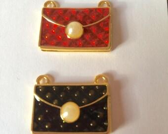Gold enamel purse