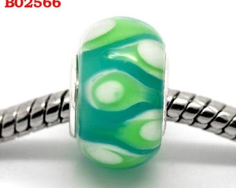 Pearl 9 x 13 mm Green and white silver core B02566