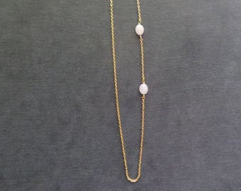 Necklace two pink Opal beads