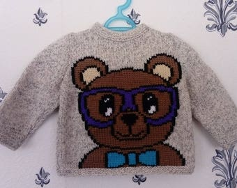 """Baby boy """"bear with glasses"""" sweater"""