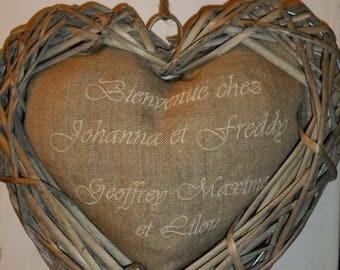 heart door wreath with your message - mother Christmas gift linen