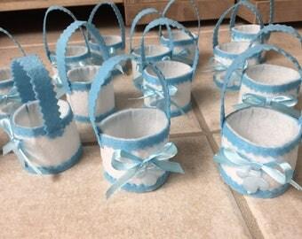 set of 10 candle, baptism, birth, felt basket with unique handmade bean bag