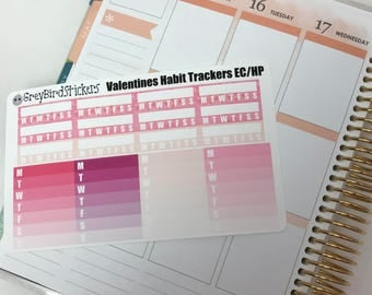 Valentines Day Themed Habit Trackers for the Erin Condren Life Planner, Happy Planner and More!