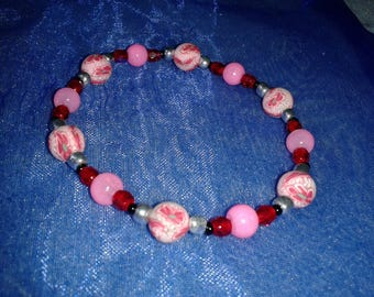 Pink bracelet with polymer clay
