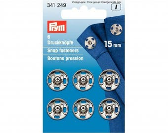 6 snap buttons 15mm PRYM sewing