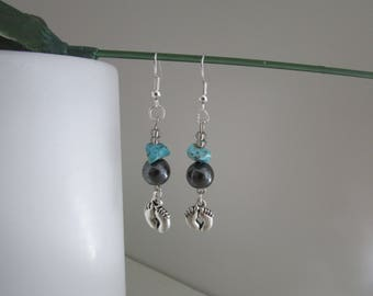 Earrings feet with HEMATITE and TURQUOISE