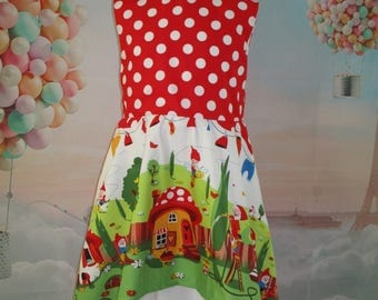 "Cotton girl ""Dwarves in the garden"" - custom dress"