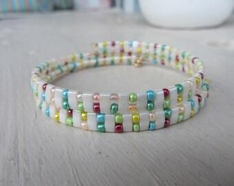 Bracelet stiff double Rod glass beads Japanese miyuki half tila ecru Pearl and multicolored seed beads