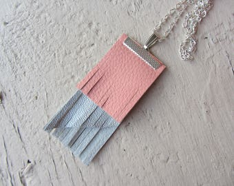 long necklace rectangle pendant with fringe in pink, grey and silver leatherette on long silver plated chain