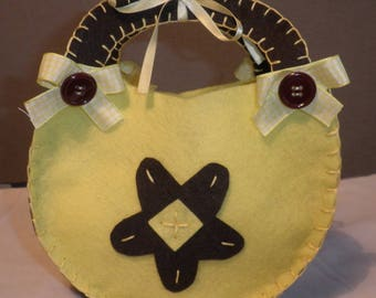 Yellow and brown felt with handles bag