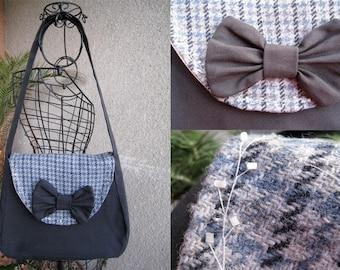 Navy Blue handbag flap big bow and tweed