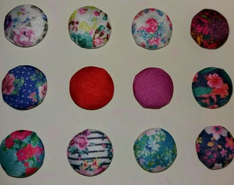 set of 12 very nice fabric buttons