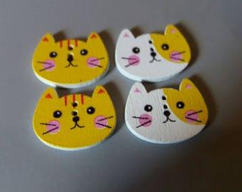set of four Cat Head wooden buttons