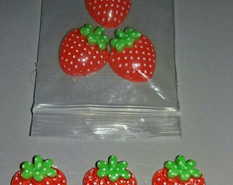 Set of 6 cute Strawberry to embellire creations