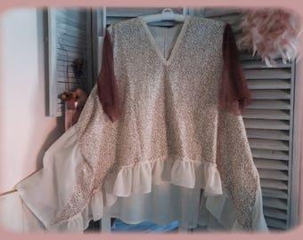 new collection tunic shabby boho Bohemian Gypsy Gypsy manoush ruffled cotton and linen Brown pink powder