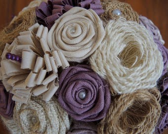 Original, timeless burlap flowers and fabric bouquet