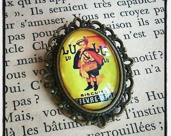"oval cabochon brooch old pub ""read"""