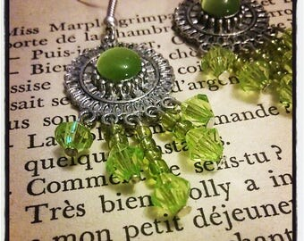 Earrings flower silver, green cat's eye, seed beads and faceted