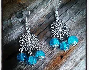 sleeper earrings silver and turquoise beads