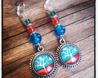 Cabochon dangle, Pearl Earrings / blue and Red