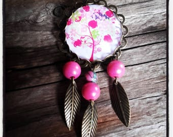Tree glass cabochon and bronze brooch