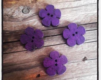 set of 4 purple 19x18mm wooden flower buttons