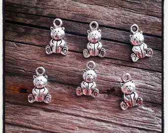 lot of 6 pieces antique silver bear pendant
