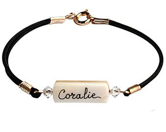 Mother of pearl bracelet personalized with name choice-jewelry-women's Bracelet cord-color Crystal