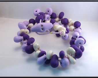 Necklace purple polymer clay beads