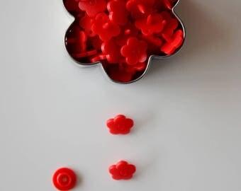 """10 resin KAM snaps poppy """"flower"""""""