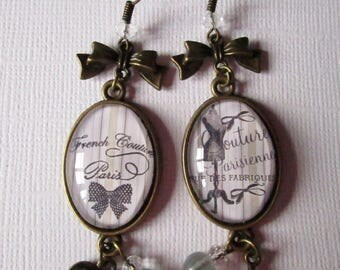 """""""French Couture"""" earrings dangle, bronze"""