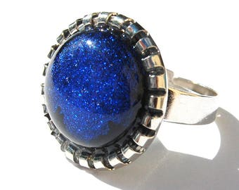 Round ring, fusing - blue - Dichroic Glass Adjustable ring