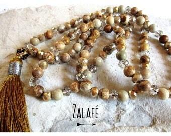 Necklace jasper-camel-gold-silver-Nepal zen mala bohemian-gypsy-hippy chic-boho-bobo