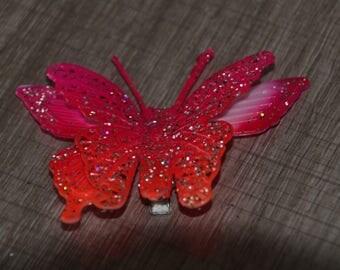 Orange pink butterflies ceremonies glitter Alligator Clip