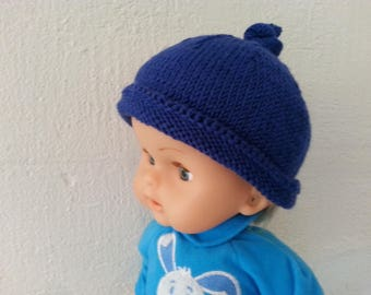 "Blue mixed ""Elf"" from 3 to 9 month baby Hat 100% Merino Wool"