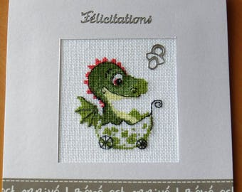 Hand embroidered card: little dragon is born - congratulations!