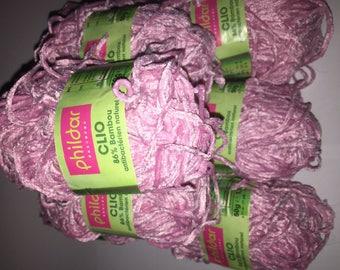 Pelotes de laine rose (lot de neuf) de marque Phildar Bambou référence Clio à petit prix