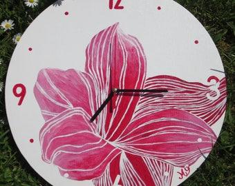 Wooden red rose flower modern clock