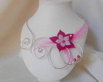NORA necklace in white & fuchsia