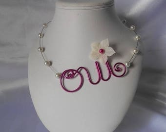 HOLLY in fuchsia & ivory bridal necklace